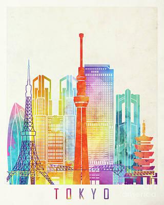 Tokyo Landmarks Watercolor Poster Poster