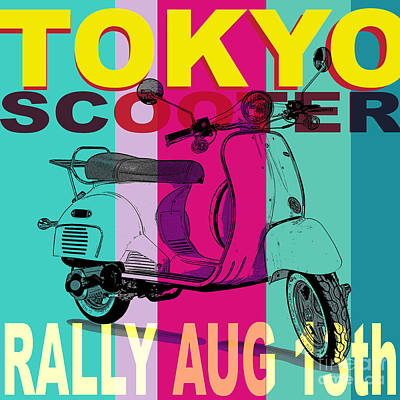 Tokyo Scooter Rally Blue Square Poster by Edward Fielding