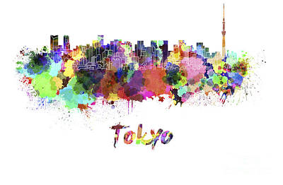 Tokyo V2 Skyline In Watercolor Poster by Pablo Romero