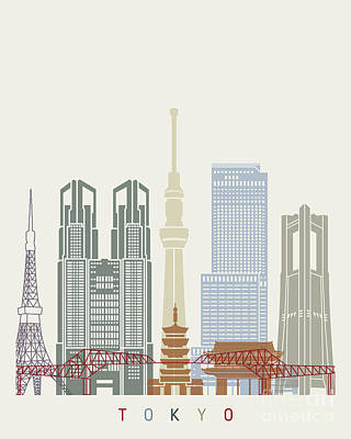 Tokyo V2 Skyline Poster Poster by Pablo Romero