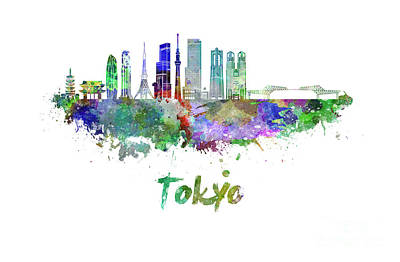 Tokyo V3 Skyline In Watercolor Poster by Pablo Romero