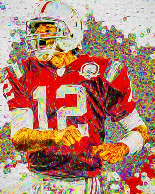 Tom Brady New England Patriots Football Nfl Painting Digitally Poster by David Haskett