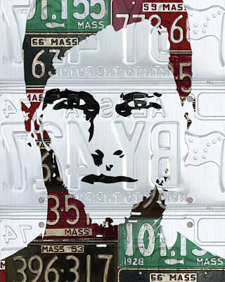 Tom Brady New England Patriots Massachusetts Recycled Vintage License Plate Portrait Original Poster by Design Turnpike