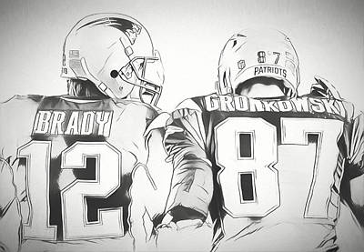 Poster featuring the drawing Tom Brady Rob Gronkowski Sketch by Dan Sproul