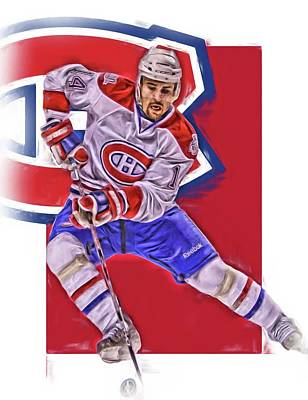 Tomas Plekanec Montreal Canadiens Oil Art Poster by Joe Hamilton