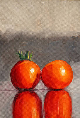 Tomato Reflection Poster by Nancy Merkle