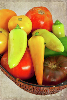 Poster featuring the photograph Tomatoes Peppers In A Basket by Dan Carmichael