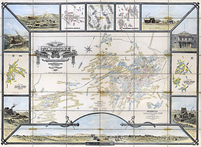 Tombstone Arizona Mining Map  1881 Poster by Daniel Hagerman