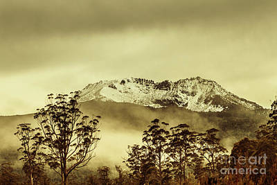 Toned View Of A Snowy Mount Gell, Tasmania Poster