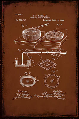 Tool For Frying Batter Patent Drawing 1b Poster