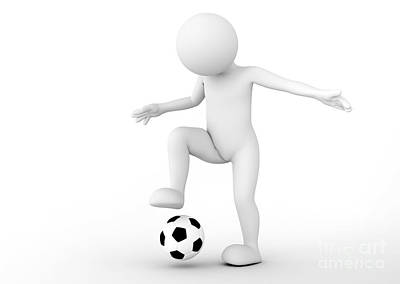 Toon Man Soccer Player Dribbling The Ball. Football Concept Poster