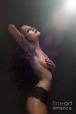 Topless Girl In Light Rays Poster