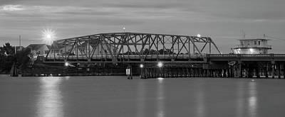 Topsail Island Bridge B  W Poster