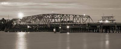 Topsail Island Bridge Sepia Poster
