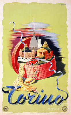 Torino Turin Italy Vintage Travel Poster Restored Poster