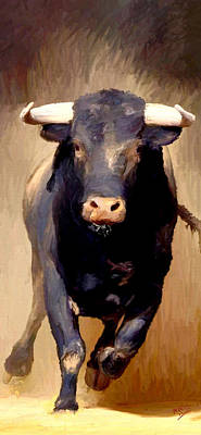Poster featuring the painting Bull Toro Bravo by James Shepherd