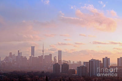 Poster featuring the photograph Toronto 2017 Warm Winter Fog by Charline Xia