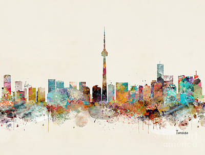 Poster featuring the painting Toronto City Skyline by Bri B