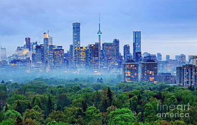 Toronto Downtown And Midtown Evening Clouds Poster by Charline Xia