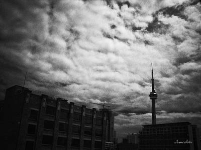 Toronto Morning Black And White Poster