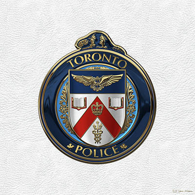Poster featuring the digital art Toronto Police Service  -  T P S  Emblem Over White Leather by Serge Averbukh