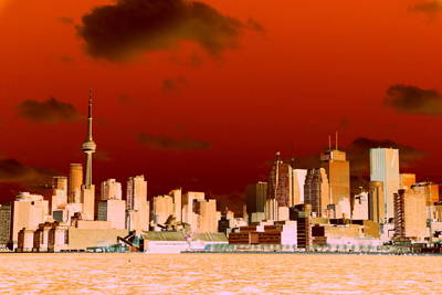 Poster featuring the photograph Toronto Red Skyline by Valentino Visentini