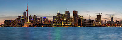 Poster featuring the photograph Toronto Skyline At Dusk Panoramic by Adam Romanowicz