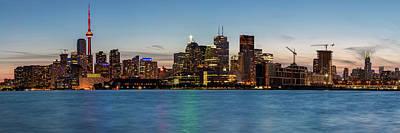 Toronto Skyline At Dusk Panoramic Poster
