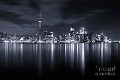 Toronto Skyline Monochrome Poster by Matt  Trimble
