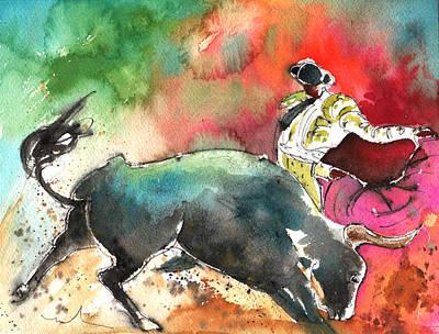 Bullfighting Under The Rainbow Poster by Miki De Goodaboom