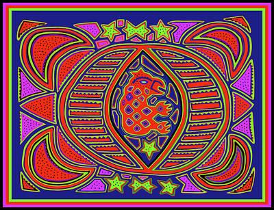 Poster featuring the digital art Tortuga Shaman Spirits by Vagabond Folk Art - Virginia Vivier