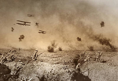 Total Trench Warfare World War One  1918 Poster by Daniel Hagerman
