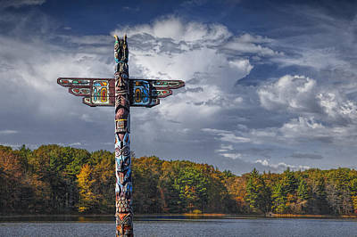 Totem Pole During Autumn By A Lake Poster by Randall Nyhof