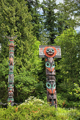 Totem Poles In Vancouver, Canada Poster