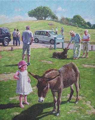 Poster featuring the painting Tourists At Boltons Bench New Forest  by Martin Davey