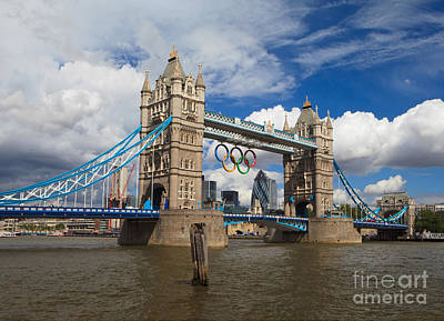Tower Bridge And The Olympic Rings Poster by Pete Reynolds
