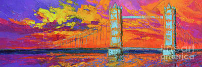 Tower Bridge Colorful Painting, Under Vibrant Sunset Poster by Patricia Awapara