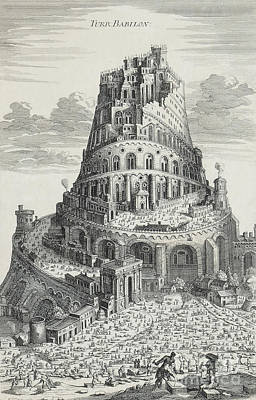 Tower Of Babylon Poster by Pierre Fourdrinier