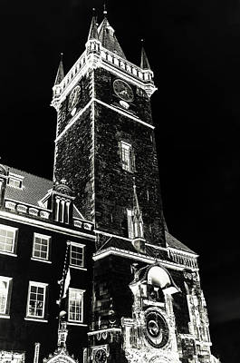 Tower Of Old Town Hall In Prague. Black Poster