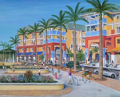 Town Center Abacoa Jupiter Poster by Marilyn Dunlap