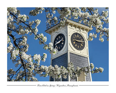 Town Clock In Spring Poster