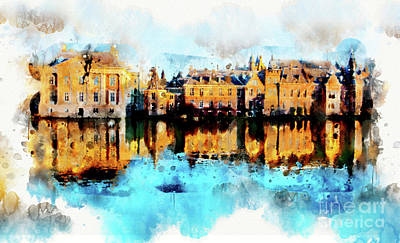 Poster featuring the digital art Town Life In Watercolor Style by Ariadna De Raadt