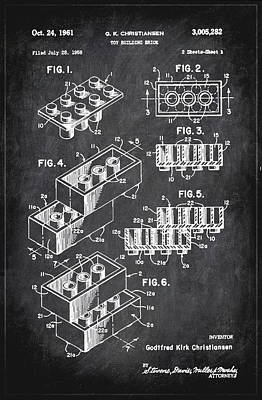 Toy Building Brick Patent Drawing 1b Poster