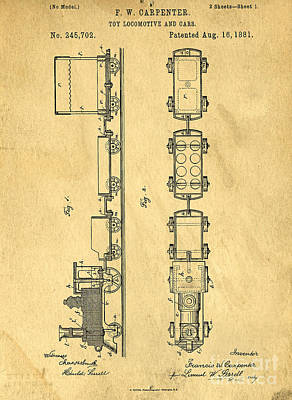 Toy Train Original Vintage Patent Art Poster