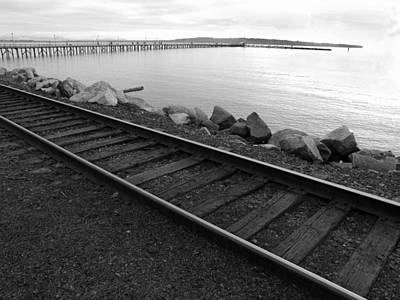 Tracks And Pier Poster by Mark Alan Perry