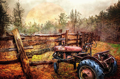Tractor At The Fence Poster