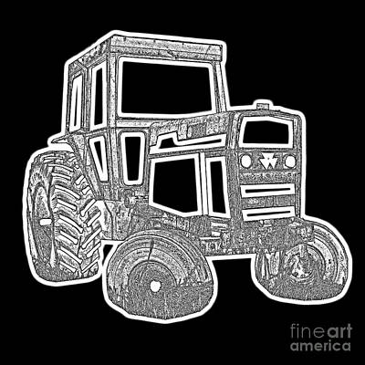 Funky Tractor Graphic Pen Ink Poster
