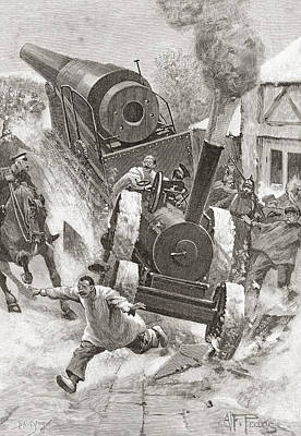 Tractor Hauling Cannon In Late 19th Poster