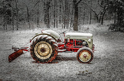 Tractor In The Snow Poster