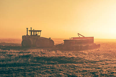Tractor Morning Glow Poster by Todd Klassy